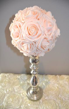 Pink Blush Flower Ball Pomander Kissing Ball by KimeeKouture - foam flowers