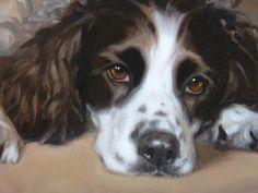 Dogs in Art at the StockBridge Gallery -   Springer Spaniel Painting by Hazel Morgan, £1,600.00 (http://www.dogsinart.com/springer-spaniel-painting-by-hazel-morgan/)