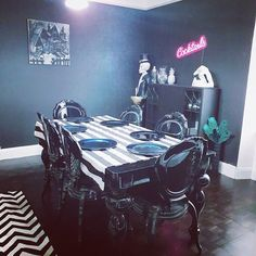 "Lee mckee on Instagram: ""Starting to feel like a home! #diningroom #gothic #althome #altstyle #althomestyle #baroque #blackandwhitestripes #upcycle #livingroomdecor…"""