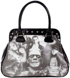 ROCK REBEL UNIVERSAL MONSTERS COLLAGE HANDBAG - This bag might cause a fright! It features all the Universal Monsters in a fancy collage on a fun shaped studded purse. This handbag is made of vinyl, features metal feet, and is a must have for any monster collector!