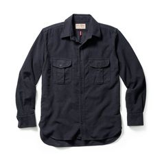 Discover the Filson Moleskin Seattle Shirt. A medium-weight, wind-resistant, sueded Moleskin shirt with expandable chest pockets and button-adjustable cuffs. Denim Button Up, Button Up Shirts, Navy Blue Color, Fashion Night, Moleskine, Military Jacket, Night Out, Menswear, Mens Fashion