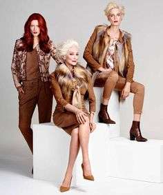 Ageing gracefully: Model Carmen Dell'Orefice (centre), 85, in faux fur scarf, £130 and dre...