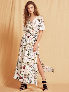 f1f633f1e24e  AdoreWe  SheIn Designer Dresses - Designer SheIn Multicolor Short Sleeve Maxi  Dress - AdoreWe