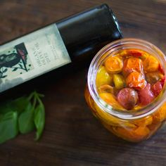 Slow Roasted Cherry Tomatoes Preserved in Olive Oil ~ very easy and delicious when added to soup, risotto, pasta or toast.