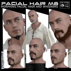 Facial Hair for Michael 8 and Genesis 8 Male | Hair for Poser and Daz Studio