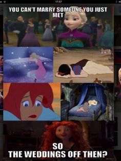Disney princesses' reactions to Elsa's word