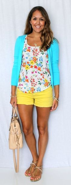 I love the bright happy colors and the silhouette of this outfit! I'd  longer short, maybe even a capri pant