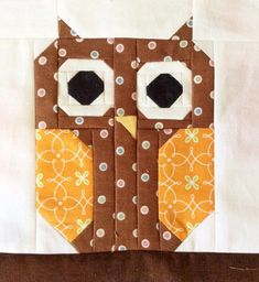 (7) Name: 'Quilting : Cute Owl Quilt Block