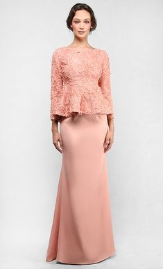 The Lace Peplum Kurung in Coral