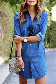 Camisa de vestir de mezclilla azul curvado Hem
