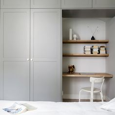 Helsingö: quality kitchens and wardrobes with IKEA cabinets frames. ENSIÖ wardrobe in thermal grey with PARASOL Brass Handles. Wardrobe Wall, Ikea Pax Wardrobe, Ikea Closet, Wardrobe Design Bedroom, Built In Wardrobe, Office Wardrobe, Wardrobe Storage, Capsule Wardrobe, Bedroom Desk