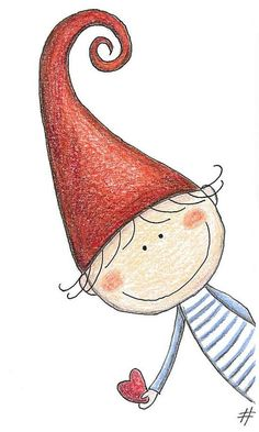 Un lutin au grand coeur - mezzo folletto - roberta topini Christmas Drawing, Christmas Art, Christmas Doodles, Christmas Gnome, Rock Art, Doodle Art, Painted Rocks, Art For Kids, Art Drawings
