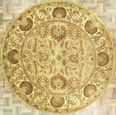 Handmade Circular Floral And Leaf Area Rug In Camel With Beige Accents
