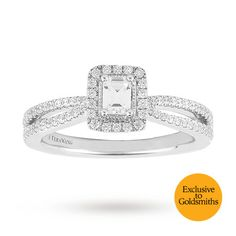Vera Wang Love Emerald Cut 0.58 Total Carat Weight Solitaire and Diamond Set Shoulders Ring in 18 Carat White Gold