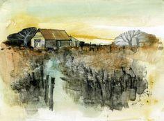 """Paul Steven Bailey  Evening light  Watercolour on gesso primed board  8"""" x 6""""  2010"""
