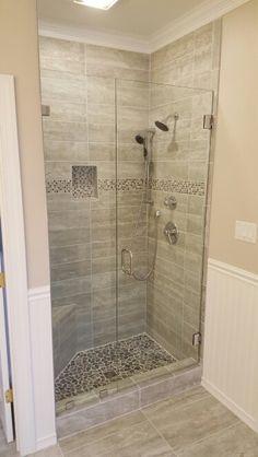 Porcelain Tile Shower with Corner Bench