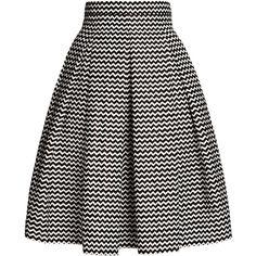 Rumour London - Chevron Midi Skirt (€170) ❤ liked on Polyvore featuring skirts, mid calf skirt, chevron striped skirt, cotton pleated skirt, chevron skirt and knee length pleated skirt