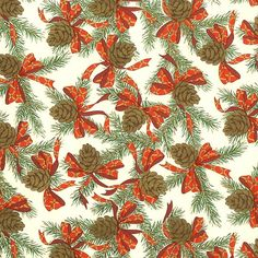 Pine Cones and Bows Florentine Holiday Print Paper ~ Rossi Italy Miniature Christmas, Noel Christmas, Christmas Paper, All Things Christmas, Christmas Crafts, Christmas Quotes, Christmas Wreaths, Vintage Christmas Wrapping Paper, Christmas Gift Wrapping