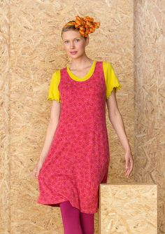 """Spring '16 """"Try"""" dress in lyocell/spandex This season we have chosen to print our popular sleeveless dress with the little """"Try"""" floral print. Simple style with fitted waist. Available in four great colors. Figure fit. Length: M 37¾"""" Item number 60704"""