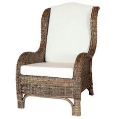 Fauteuil en Rotin Marron - Nassau - Coussin compris - couleur Marron et coussin Vanille - fauteuil de détente ROTIN DESIGN