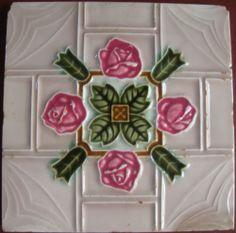 vintage japanese Art Nouveau     moulded ..tile  #ArtNouveau