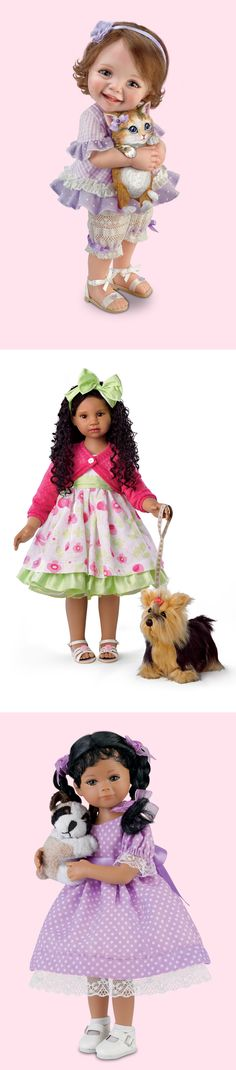 Celebrate our furry friends with these little girl dolls and their pets.