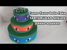Como fazer bolo fake Tartarugas Ninjas passo a passo - YouTube