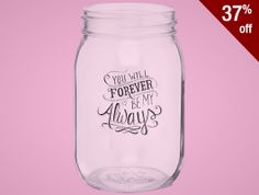 This 16 oz. glass drinking jar will bring rustic charm to any occasion. Makes a great favor for weddings, parties, or other special events. Tin lids are available at an additional charge.  low as $1.71 #PromotionalProducts #Custom #MasonJar #Wedding #Favors