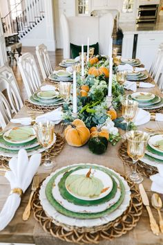 Are you looking for Fall tablescapes ideas? I have 10 Fall themed Tablscapes ideas for you. These simple Fall tablescapes are what you need. I have fall tablescapes that fit everyone's styles, from farmhouse to elegant Thanksgiving tablescapes that are elegant. If you want more Fall inspiration, visit Home with Holly J. Thanksgiving Table Settings, Thanksgiving Centerpieces, Holiday Tables, Autumn Centerpieces, Green Plates, Entertainment Table, Green Pumpkin, Autumn Theme, Fall Home Decor