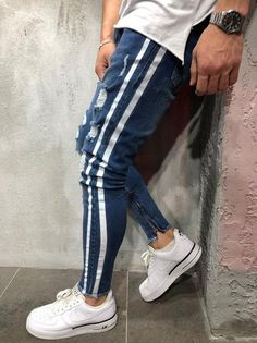 1a7576d73e02 New Men Slim fit Knee Holes hip hop skinny jeans fashion Side white stripe  Distressed Ripped Stretch Streetwear Denim trousers