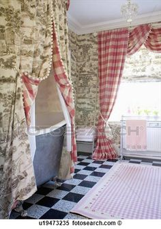 Grey Toile-de-Jouy curtains above bath in bathroom with red checked curtains on window View Large Photo Image French Decor, French Country Decorating, Check Curtains, Boho Home, Shabby Chic Bedrooms, Small Bedrooms, French Country Style, Rustic French, Soft Furnishings