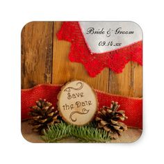 Pine and Red Lace Woodland Wedding Save the Date Square Stickers