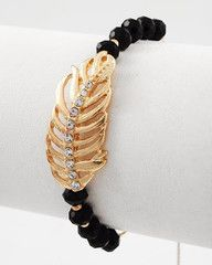 Birds of a Feather Black and Gold Adjustable Feather Bracelet-$18-Find hot fashion jewellery and statement jewlry at Strike Envy. #jewellery #jewlry