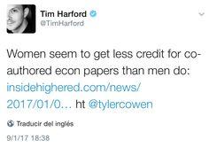 Mujeres obtienen menos credito por sus Papers que sus colegas masculinos
