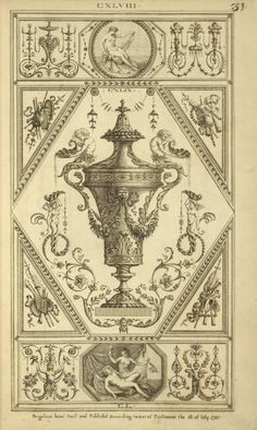 Central design of urn with two mermen on lid pouring water from shells. Water Drawing, Line Drawing, Blue Carnations, Renaissance, Ornament Drawing, Elements Of Style, Paper Wallpaper, Balcony Design, Epic Art