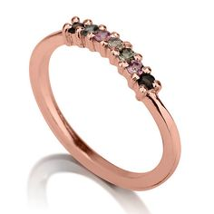 Seven Diamond Red Gold Ring 14k Rose Gold by LiatWaldmanJewelry, $300.00