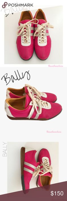 """Hot Pink, Silver and White BALLY """"Free"""" Sneakers Yo Doug- What? Put Your Bally's On! **giggles** (that's """"6 Min/Dougie Fresh""""- for my young loves). Clearly, I'm an undercover """"B-Girl"""" (though country music is giving me """"life"""" right now).  Size 8M, Hot Pink Bally with Silver Stripes, White Accent (around laces and back) with Silver Cross (Back). Wood Heels.  In LIKE NEW Condition- Pristine. Bally Shoes Sneakers"""