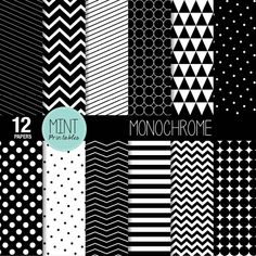 Black and White Scrapbooking Paper Monochrome Digital Paper Patterned Printable Sheets stripes chevron background - BUY 2 GET 1 FREE! mintprintables 4.00 USD