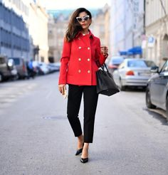 Stylish Office Outfits - From Parts Unknown Office Outfits, Chic Outfits, Fall Outfits, Look Fashion, Womens Fashion, Double Breasted Jacket, Black Trousers, Office Looks, Dress With Boots