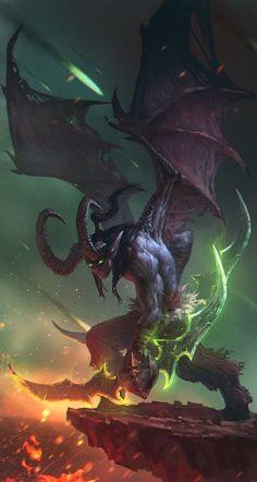 Demon Hunter World of Warcraft Art Board ^^ // Blizzard // wow // // Digital // Geek // 3d Fantasy, Fantasy Kunst, Fantasy Artwork, Fantasy World, Dark Fantasy, Final Fantasy, Digital Art Illustration, Illustration Fantasy, Fantasy Creatures