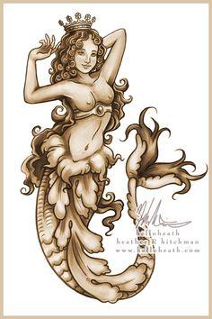 Sepia Mermaid Tattoo Design by helloheath.deviantart.com on @deviantART