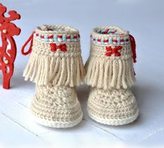 Baby Moccasin Fringe Booties Crochet Pattern by Matilda's Meadow** ༺✿ƬⱤღ✿༻