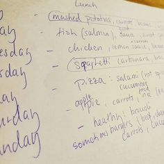 My six year old daughter - the pickier eater of the two - totally surprised me twice today. First she asked whether she could ALWAYS help me with cooking. Of course. A moment later she suggested we create a meal plan together - now where did that come from? The picture is pretty much a word by word record of what she wants to cook. For lunch and dinner as needed. She put in what she considers 'healthy': carrots corn broccoli etc. There's something of that for every meal. The week starts with…