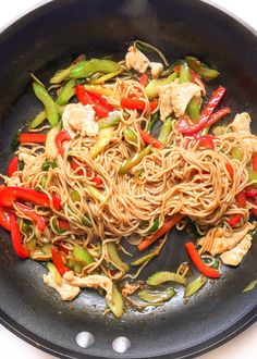 The best healthy chicken lo mein recipe is easy, quick, and so good you won't need to order Chinese takeout! Only 237 calories