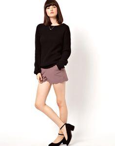 ASOS Shorts with Scallop Hem (Light Pink)