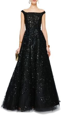 Oscar De La Renta Sequined Offtheshoulder Tulle Gown in Black