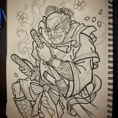 """""""Samurai for today. Upper part of what will be a full sleeve.  Love this stuff!"""""""