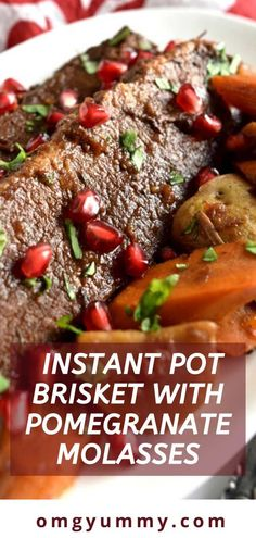 Instant Pot Brisket with Pomegranate Molasses Instant Pot Brisket with Pomegranate Molasses is a doubly great recipe – quicker because of the i Beef Recipes For Dinner, Meat Recipes, Crockpot Recipes, Cooking Recipes, Pomegranate Recipes, Pomegranate Molasses, Yam Or Sweet Potato, Braised Brisket, Amigurumi For Beginners