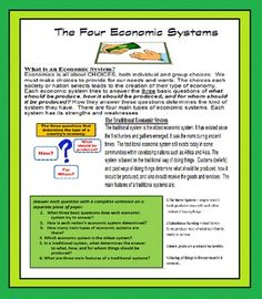 Economics: The Four Economic Systems Federal Budget, Monetary Policy, Reading Comprehension Worksheets, Economic Systems, Compare And Contrast, The Four, Esl, Special Education, Economics