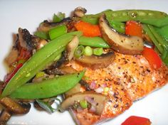 The Briny Lemon: Pan-Seared Salmon with Warm Snap Pea and Mushroom Salad
